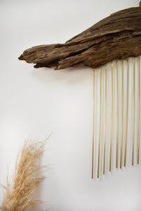 Driftwood + Brass wall hanging #01