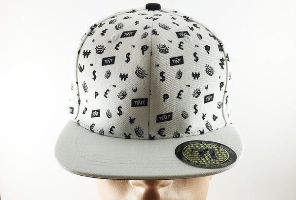 TINT Black & White Cash Currency Pattern Snapback Hat