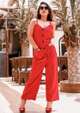 Red Button Down Jumpsuit