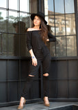 Black Ripped Jumpsuit