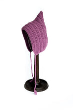 purple knitted bonnet winter baby hat