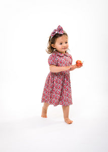 red liberty print toddler baby dress handmade uk