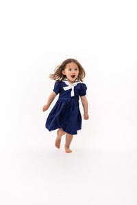 Katherine Silk Sailor Dress - Navy