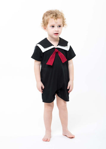 Black and White Baby Sailor Romper -