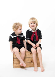 "Black and White Baby Sailor Romper - ""Issac"""