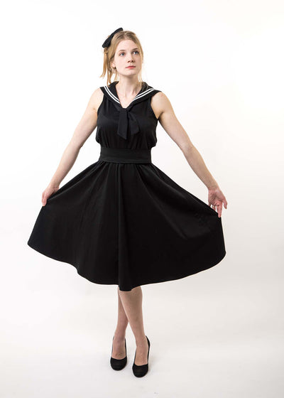 Ladies Gothic Sailor Dress - Cotton Sateen