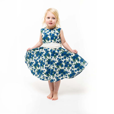 girls blue liberty print dress