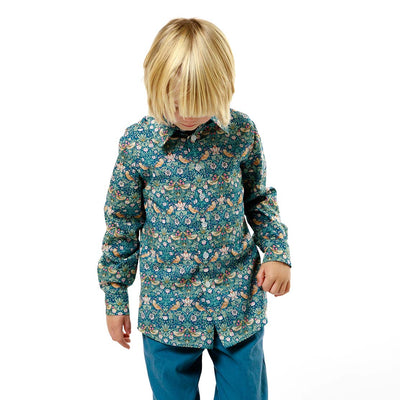 Classic Boys collared Shirt made using Liberty Fabric