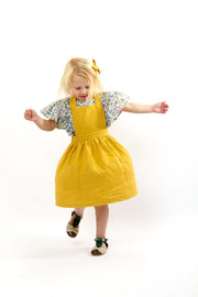 "Mustard Yellow Linen Girls Pinafore ""Isabel"""