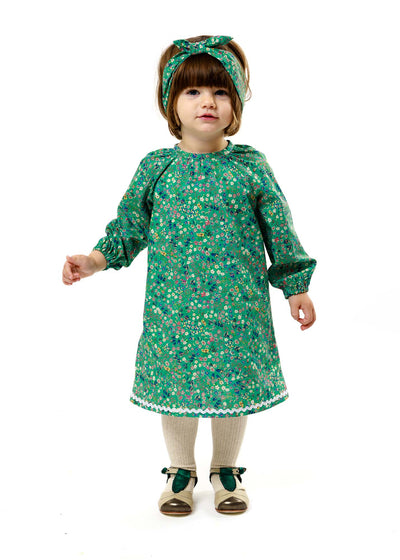 "Long Sleeve Liberty Print Girls Dress - ""Maria"""