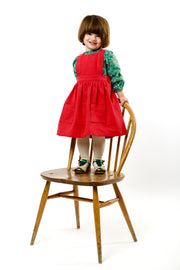 "Red Linen Girls Pinafore ""Isabel"""
