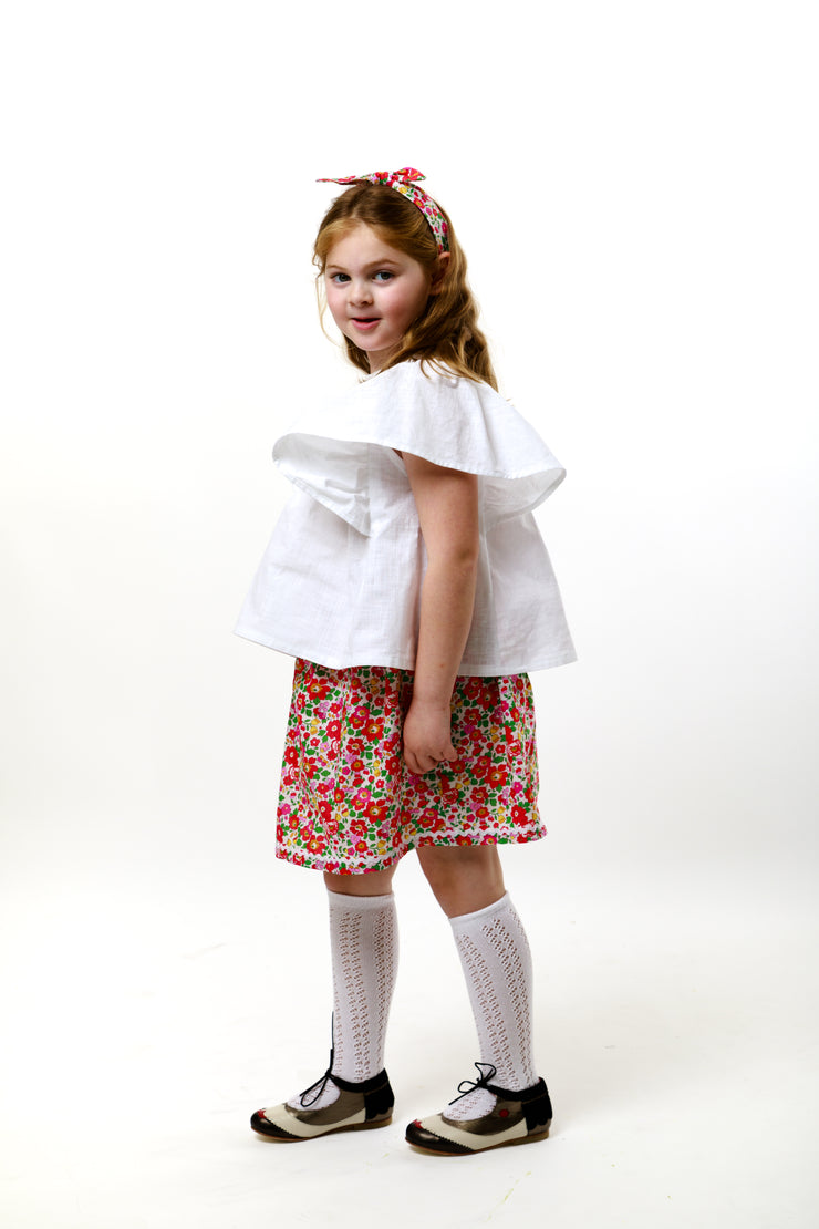 "Girls Linen Frill Blouse - ""Michelle"""
