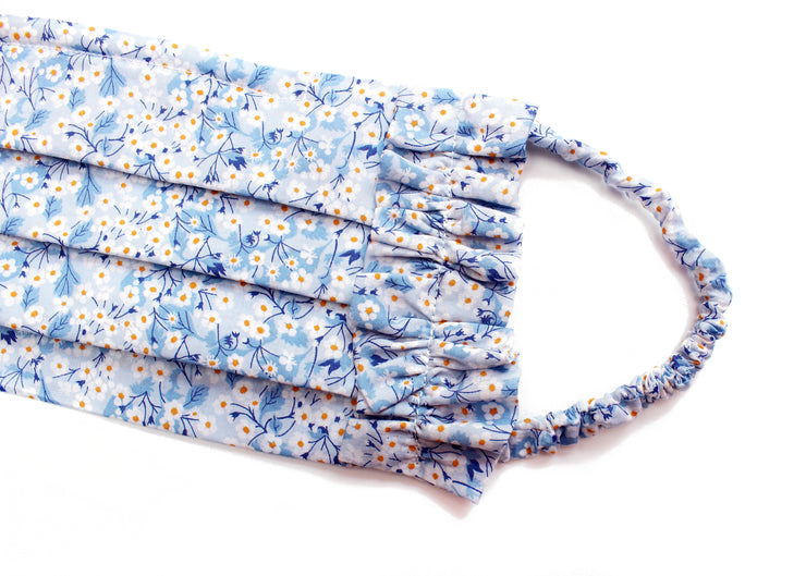 Frill Face Mask made with Liberty Print -  Filter pocket - Nose Wire - Covered Elastic