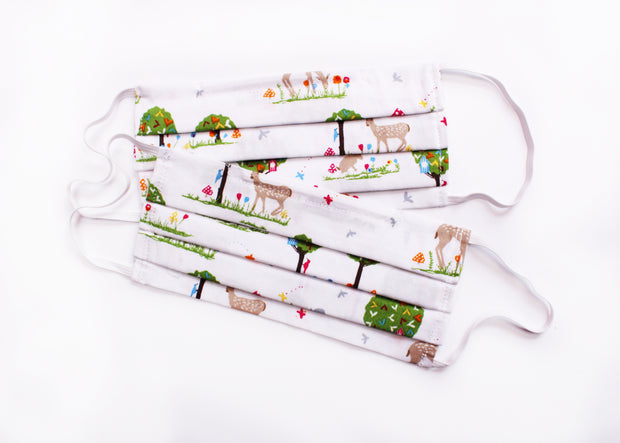 Cotton Woodland Face Mask - Pack of two - UK - Nose wire - Filter Pocket