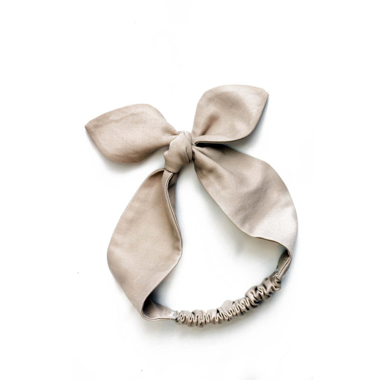 Top Knot Girls Hair Band - Beige Cotton