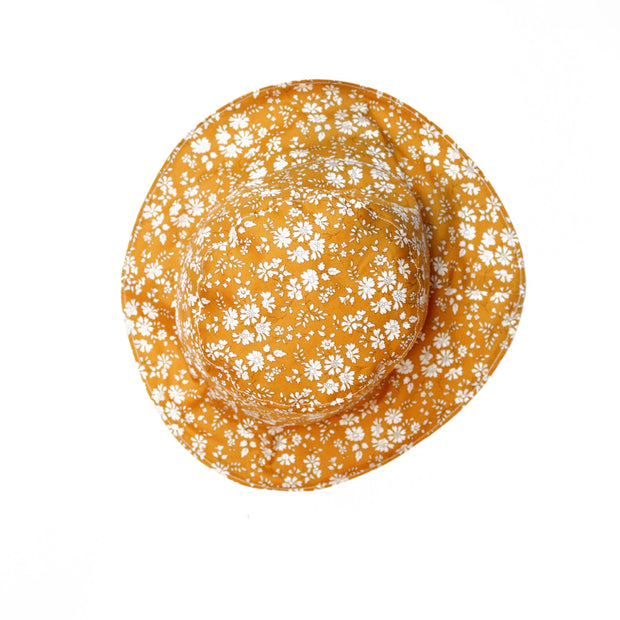 Liberty Print Girls Sun Hat - Capel Mustard