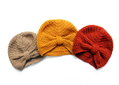 baby knit turban in mustard rust and fawn