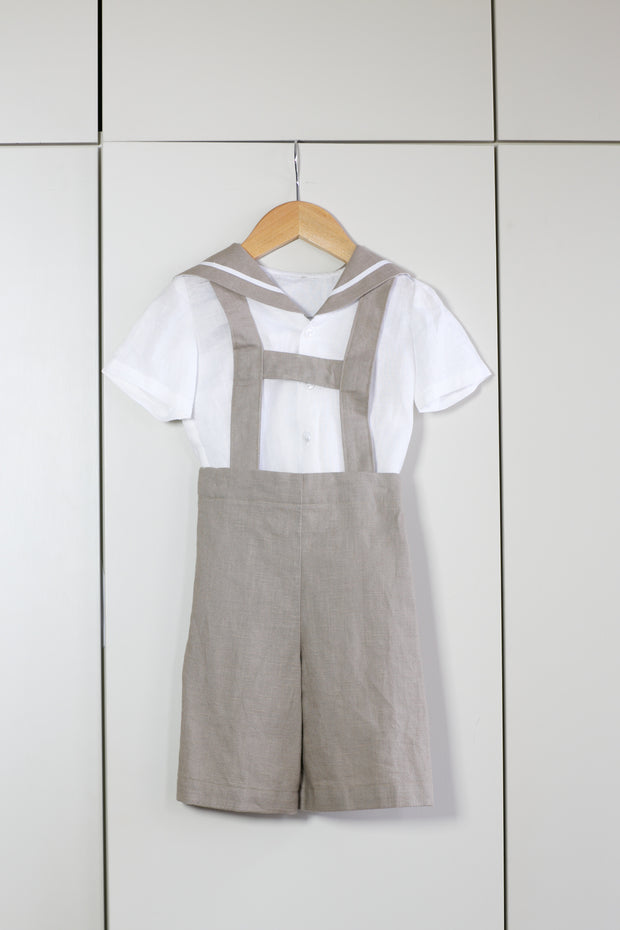 "Boys Ring Bearer Linen Sailor Suit - ""Drake"""