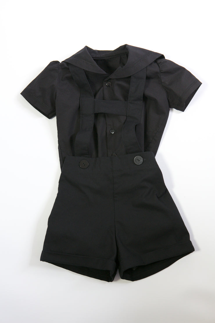 Gothic Black Cotton Sailor Suit