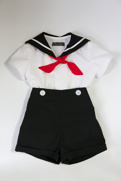 "Toddler Sailor Suit  - ""Noah"" with tie"