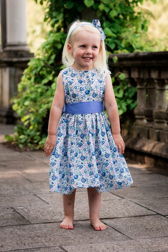 Liberty Print Sash Blue Flower Girl Dress -