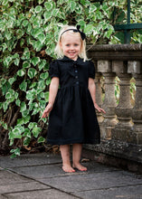 Load image into Gallery viewer, girls black gothic flower girl dress