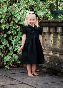 girls black gothic flower girl dress