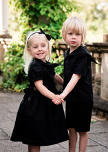 gothic flower girl and page boy suit black