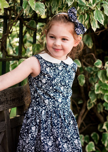 "Sleeveless Peter Pan Liberty Print Girls Dress - ""Lulu"""