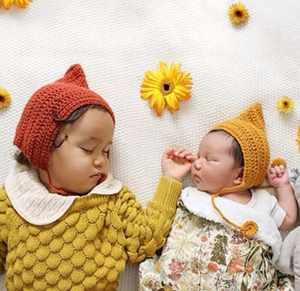 mustard red baby warm bonnet girls and boys