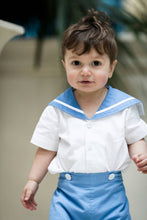 Load image into Gallery viewer, Toddler sailor suit romper christening uk