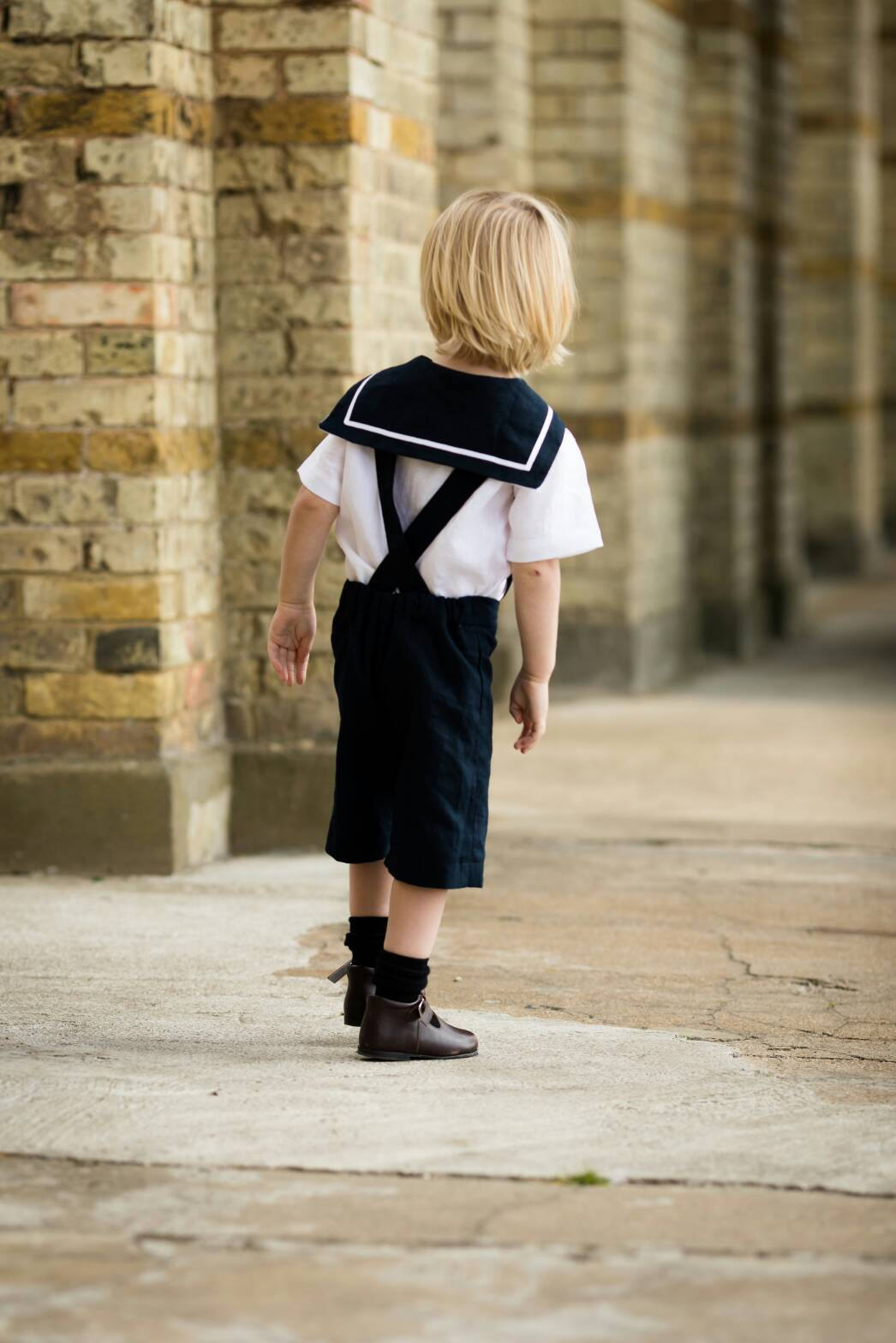 Handmade sailor suit linen toddler boys girls