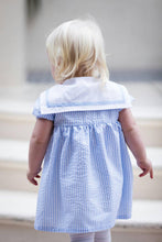 Load image into Gallery viewer, Girls blue sailor dress flower girl