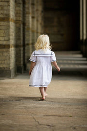 white sailor linen dress flower girl uk