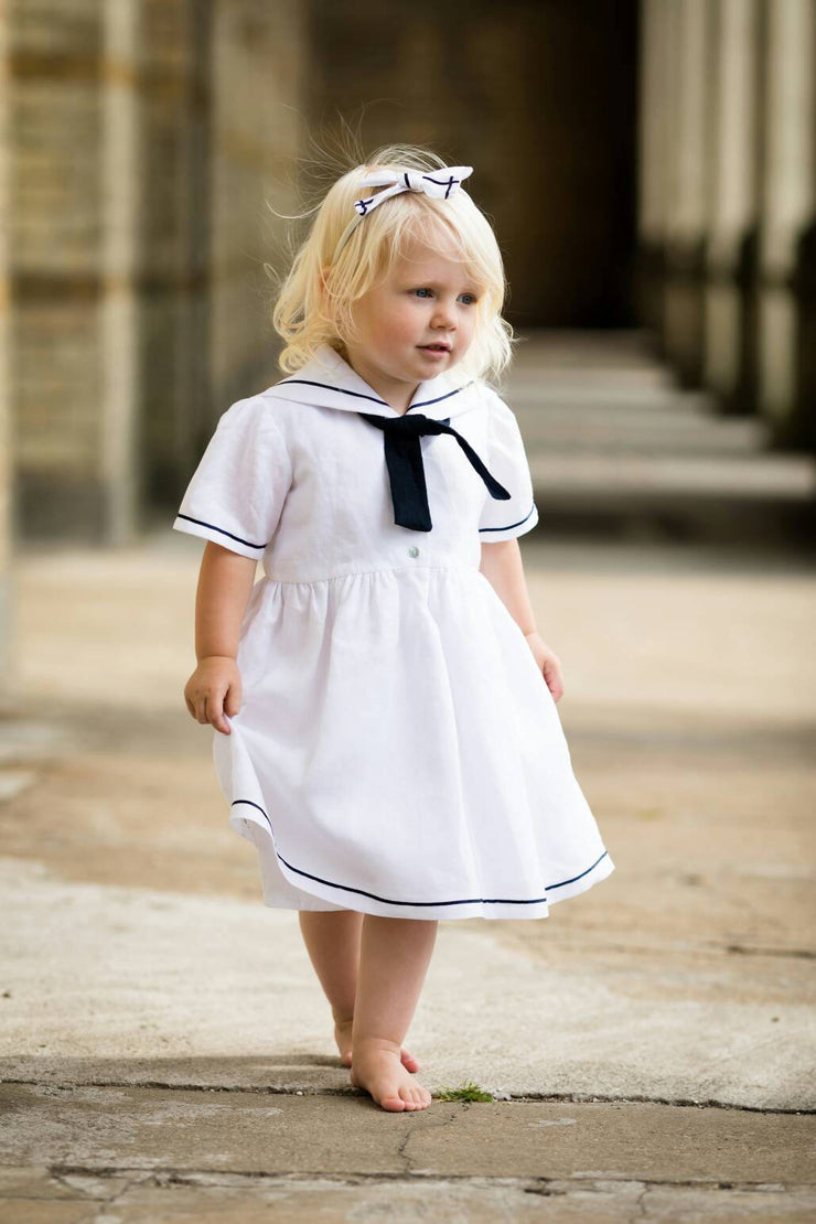 white linen sailor dress christening uk