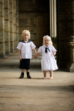 Load image into Gallery viewer, linen sailor suit and sailor dress christening