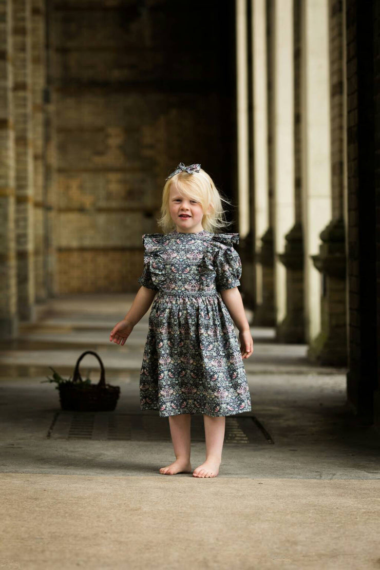 grey liberty print frill dress