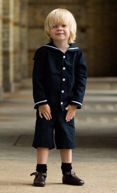 Navy Linen Boys sailor suit uk