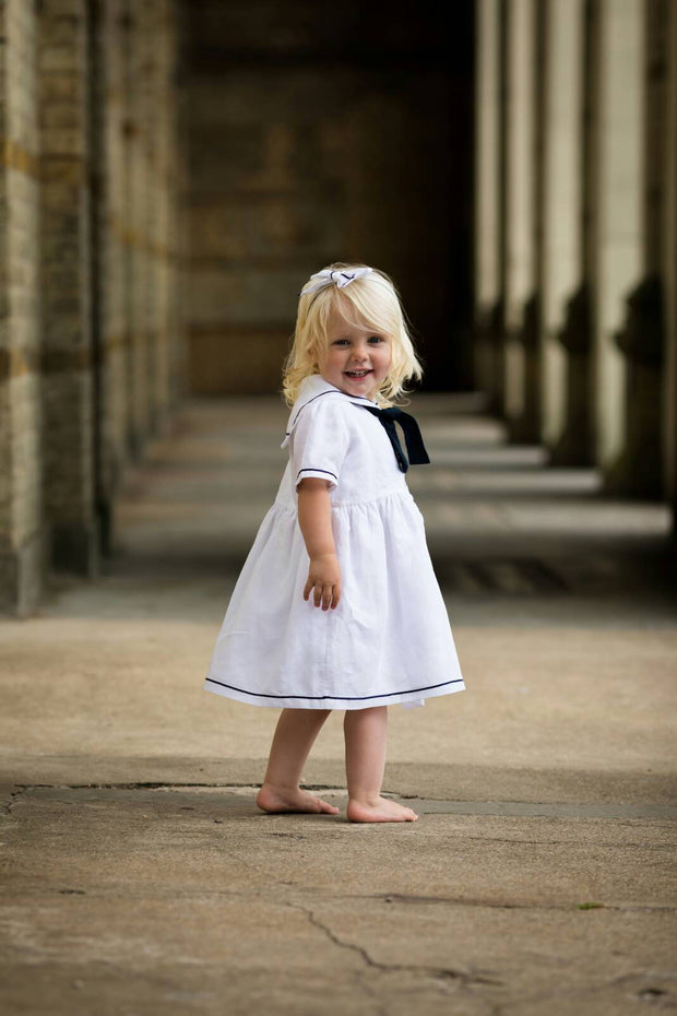 white christening linen sailor dress