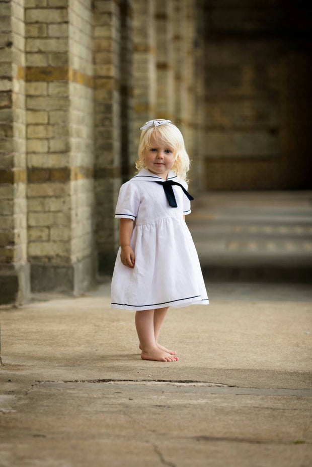 sailor dress christening flower  girl vintage