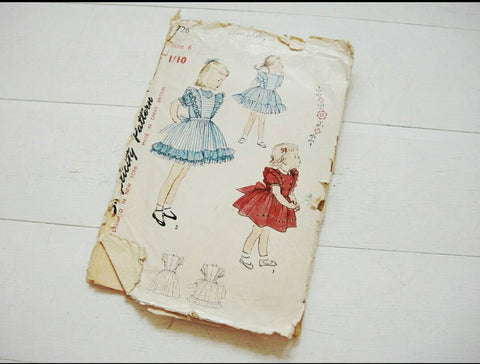 vintage girls sewing pattern dress 1950's