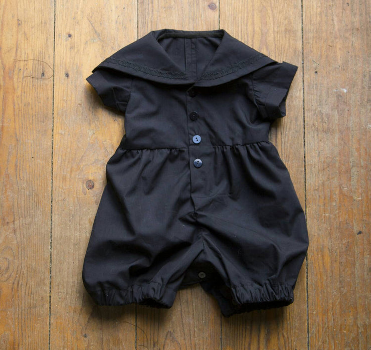 Black gothic baby sailor romper