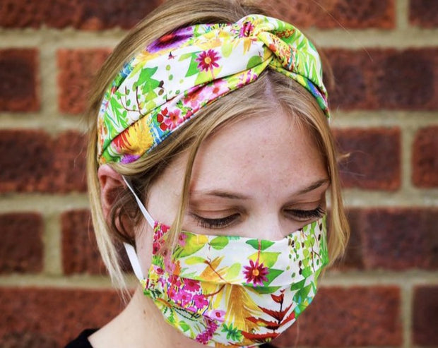 Liberty Print Face Mask and Matching Turban Twist