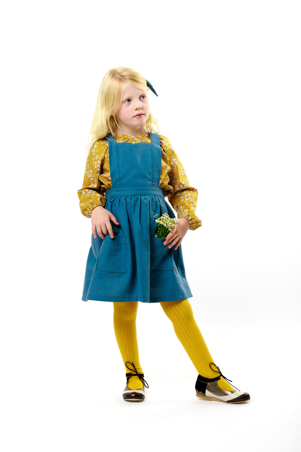 "Blue Linen Girls Pinafore ""Isabel"""