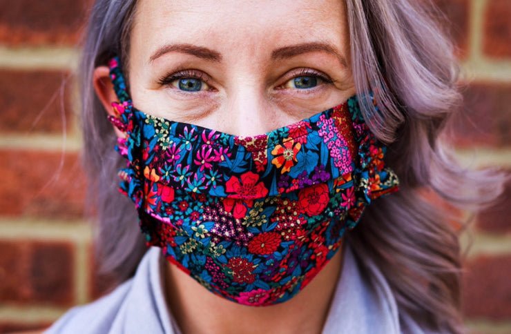 LUCKY DIP Frill Face Mask made with Liberty Print -  Filter pocket - Nose Wire - Covered Elastic