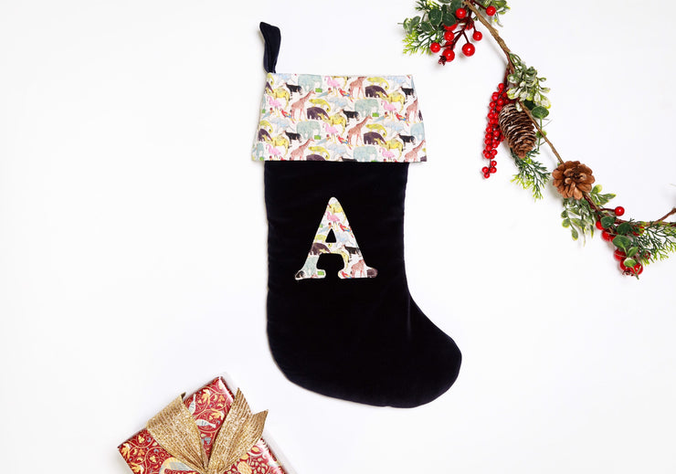 Green Velvet Liberty Print Christmas Stocking