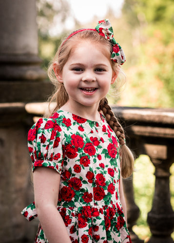 Red liberty print girls dress flower girl