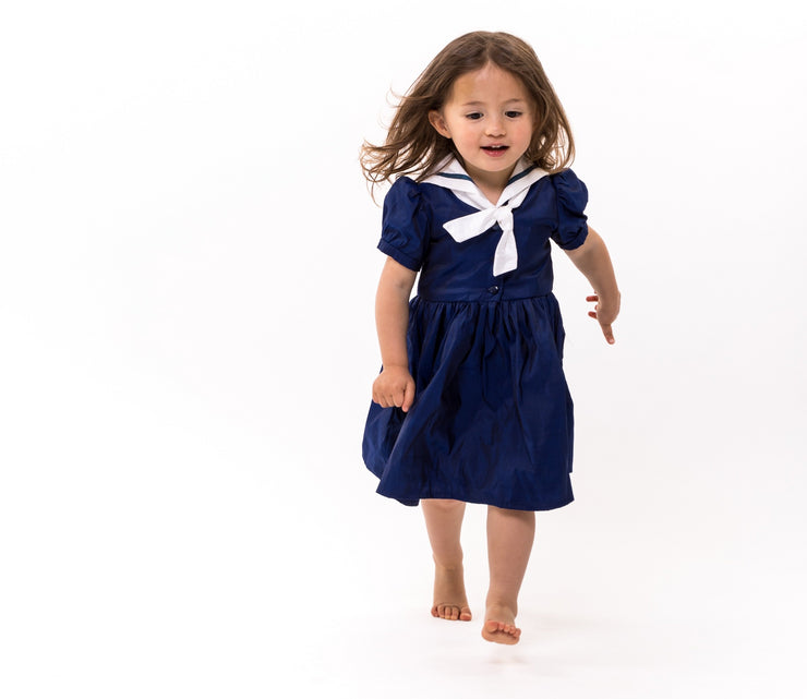 silk navy girls sailor dress