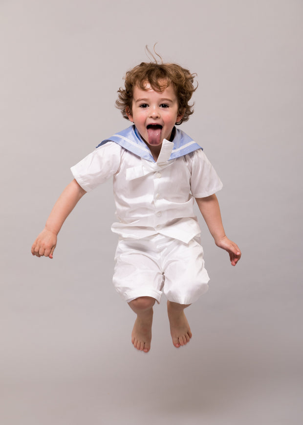 "White Silk Christening Sailor Suit - ""Edward"""