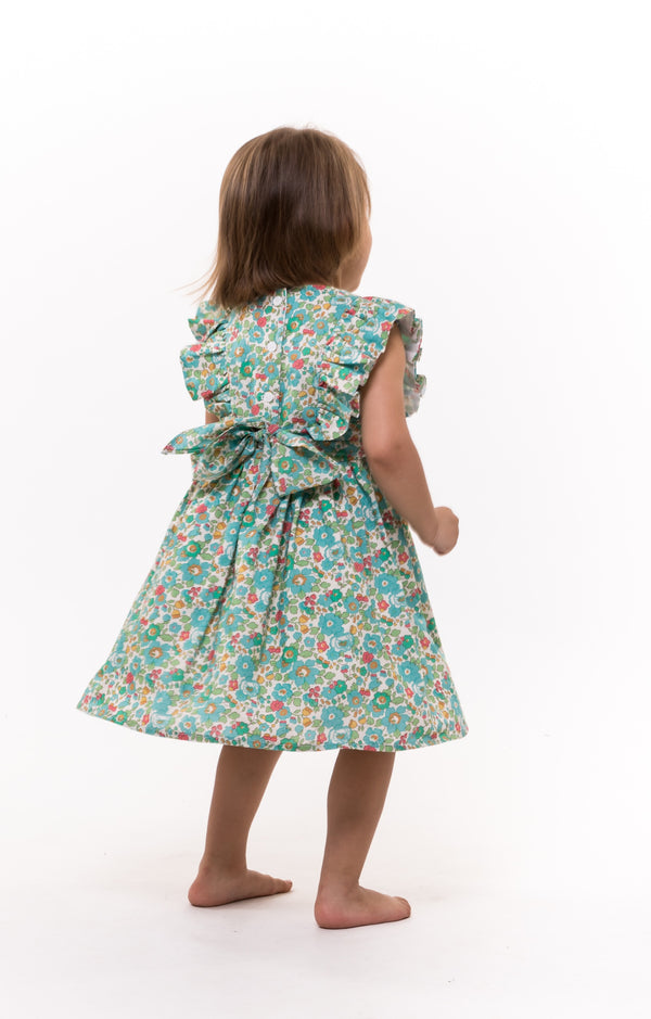 teal frill girls dress